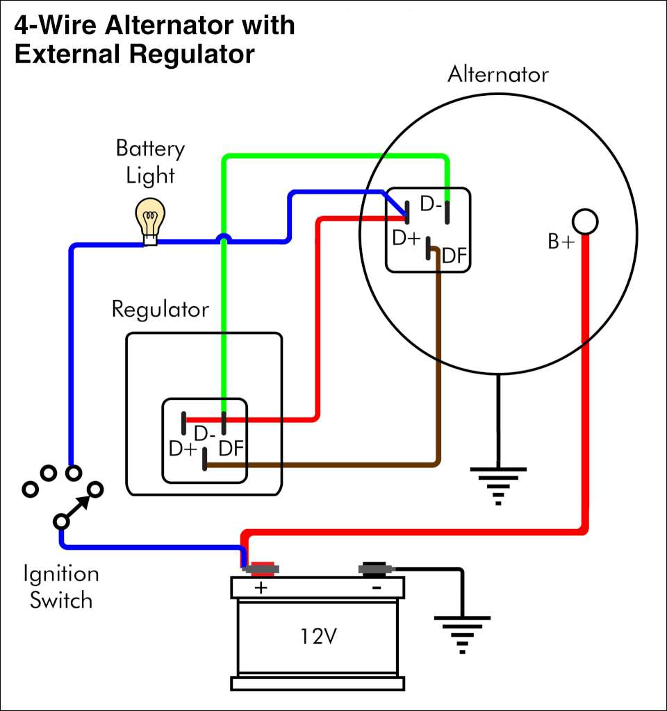 alternator four wire 1024 alternator exciter wiring diagram chevy alternator wiring diagram wiring diagram for alternator with external regulator at gsmx.co