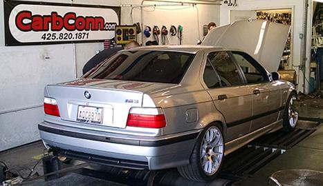 BMW on the Dyno rollers at the Carb Connection