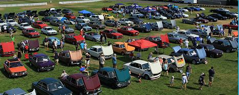 Overhead shot of Deutsche Marque car show